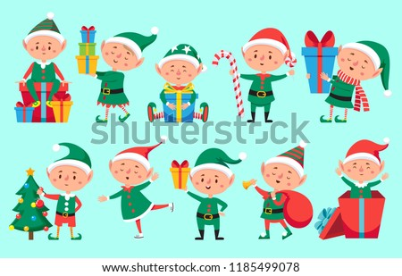 Christmas elf character. Cute Santa Claus helpers elves. Funny Xmas winter baby dwarf little fantasy helper characters creature with gift, new year vector isolated symbols set