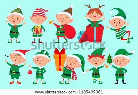 Christmas elf character. Santa Claus helpers cartoon, cute dwarf elves fun characters, santas helper, Xmas little green fantasy assistant winter 2019 vector isolated icons set
