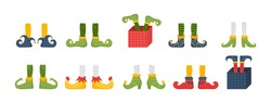 Christmas elf feet and legs set, decoration for celebration. Christmas gnome bundle. Collection of cute elves legs, boots, socks. Santa helpers shoes and pants with gifts, presents. Vector.