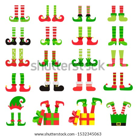 christmas elf feet set  vector