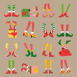 Christmas elf feet. Shoes for the feet of elves, the leg of the gnome's helpers of Santa Claus in a set of pants. Shoes, funny striped socks and boots. Vector illustration