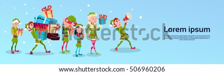 christmas elf group cartoon