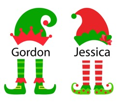 Christmas elg girl and boy hats and feet, vector illustration. Cute elves legs, boots, costumes.  Santa helpers squad.