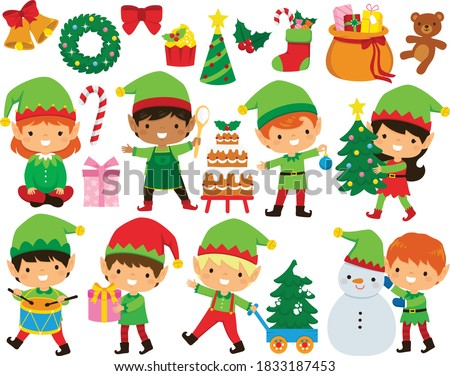 christmas elves clipart set