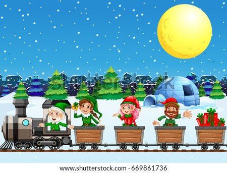 christmas elves on train at
