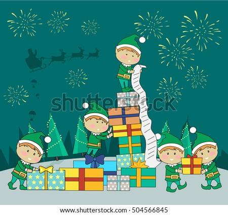 christmas elves packing