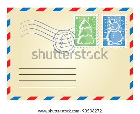 christmas envelope with postage stamps on white background - stock vector