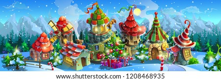 Christmas fairy tale village in the winter. Colorful houses with a christmas tree and gift boxes. Big vector panorama.