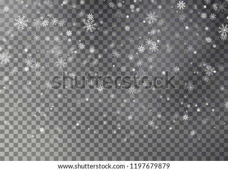 Christmas falling snow vector isolated on dark background. Snowflake transparent decoration effect. Xmas snow flake pattern. Magic white snowfall texture. Winter snowstorm backdrop illustration.