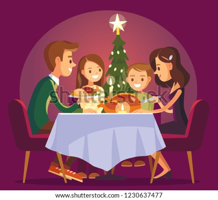 Christmas family dinner. Family eating together and making conversation sitting around the table.
