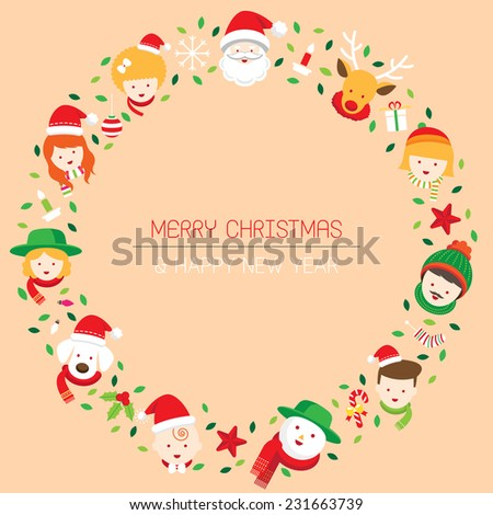 christmas  family  people wreath