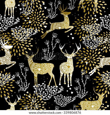 Christmas fancy gold seamless pattern with deer and nature elements on black background. Ideal for xmas card design, holiday wrapping paper or print. EPS10 vector.