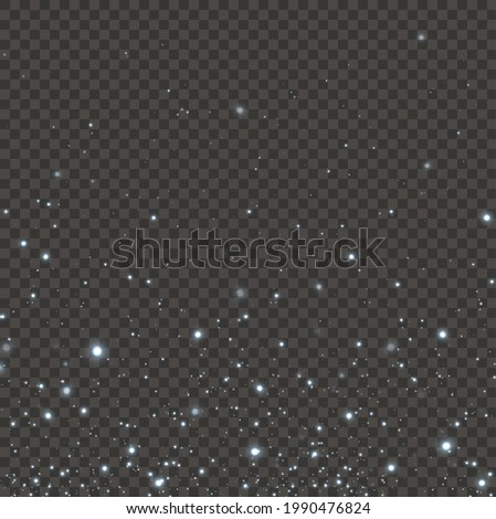 Christmas festive background of light confetti and small shining lights, on a transparent black background. Glittering texture. Christmas effect for luxury greeting rich card.