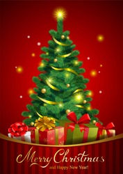 Christmas festive background with pine tree and gifts in traditional style.