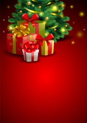 Christmas festive backgroung with gift beside a Christmas tree, illustration in traditional style.