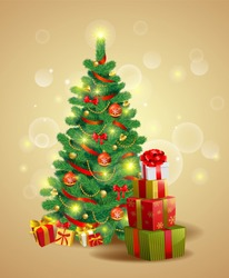 Christmas festive backgroung with pine tree and gifts in traditional style.