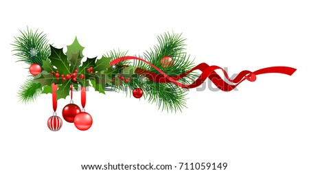 Christmas festive ornament for design banner, ticket, invitation or card, leaflet and so on. Holiday decorations with spruce tree