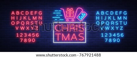 Christmas festive sale of a poster in a neon style. Vector discount card, neon sign, bright banner, luminous sign, night advertising, Xmas discount sale. Editing text neon sign. Neon alphabet.