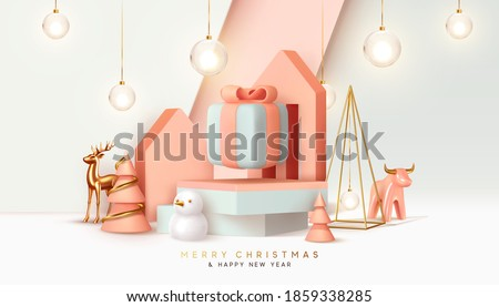 Christmas festive winter 3d composition. Realistic stage, podium, Xmas studio. Minimal abstract new year background. Modern Creative holiday template. Banner and poster. Vector illustration