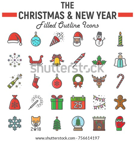 Christmas filled outline icon set, new year symbols collection, vector sketches, logo illustrations, holiday signs colorful line pictograms package isolated on white background, eps 10.