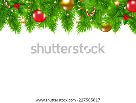 Christmas Fir Tree Border With Gradient Mesh, Vector Illustration #227505817