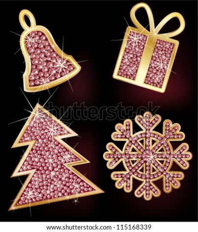 Christmas fir-tree, hand bell, gift, the snowflake decorated with brilliants