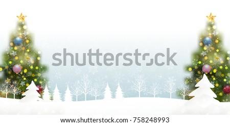 Christmas Fir Tree Snow Background  #758248993
