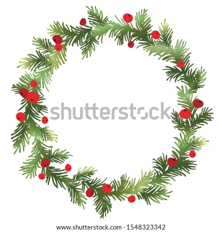 Christmas fir wreath with red berries. Pine wreath. Spruce new year wreath. Decorative element. Vector illustration.