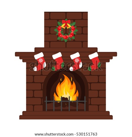 christmas fireplace in colorful