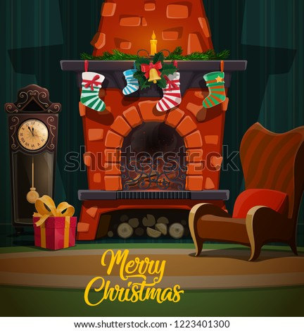 christmas fireplace in room