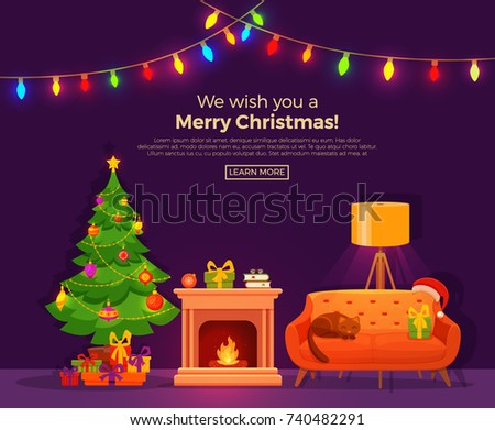 Free Christmas Vector Fireplace - Download Free Vector Art