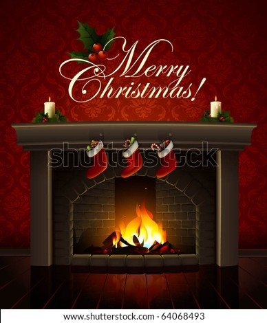 Christmas Fireplace Vector Image - 64068493 : Shutterstock