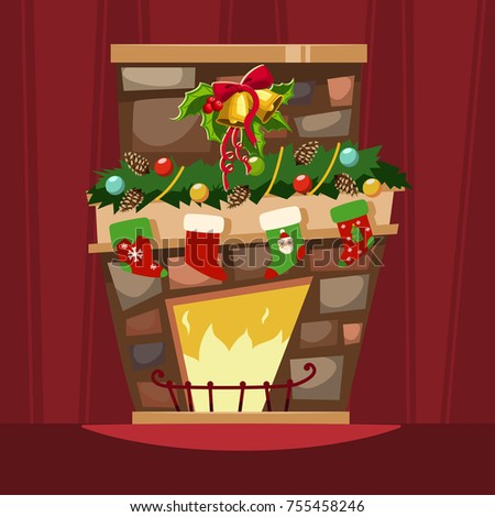 christmas fireplace with a