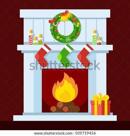 Christmas fireplace. Xmas and fire, home decoration, interior for celebration. Flat vector cartoon illustration. Objects isolated on a white background.
