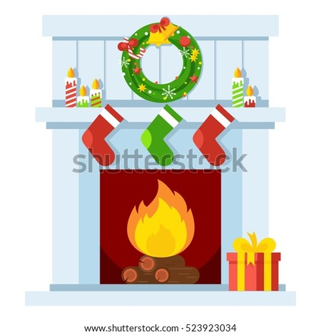 christmas fireplace. xmas and...