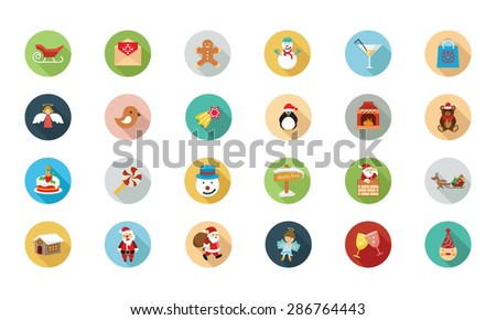 christmas flat colored icons 2