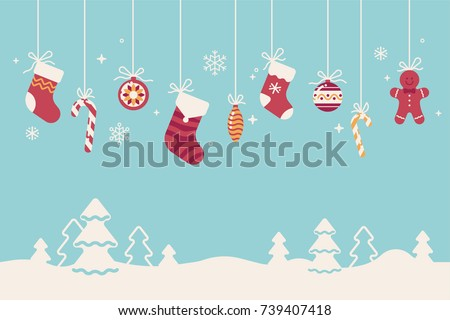 Christmas flat vector background with snowdrifts and traditional winter season holidays decorations, ornaments and elements