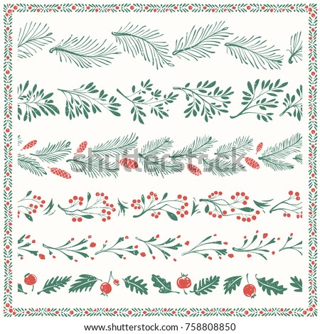 Christmas Floral Freehand Borders with Nice Ornamental Frame