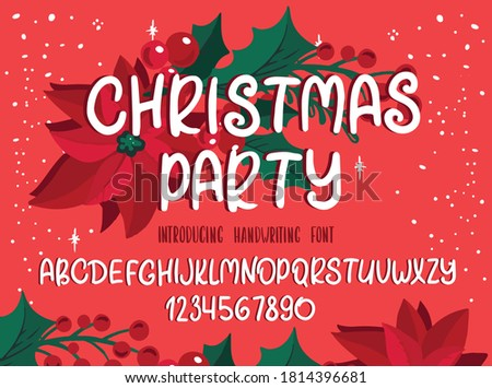 Christmas font. Holiday typography alphabet with season wishes and festive illustrations. Handwritten script for holiday new year celebration. Design vector with hand-drawn lettering.