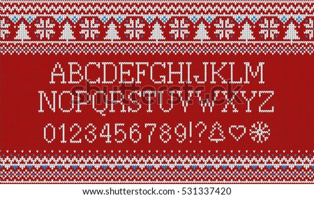 4937f23937cb60 Knitted latin alphabet on seamless knitted pattern with snowflakes and fir.  Nordic