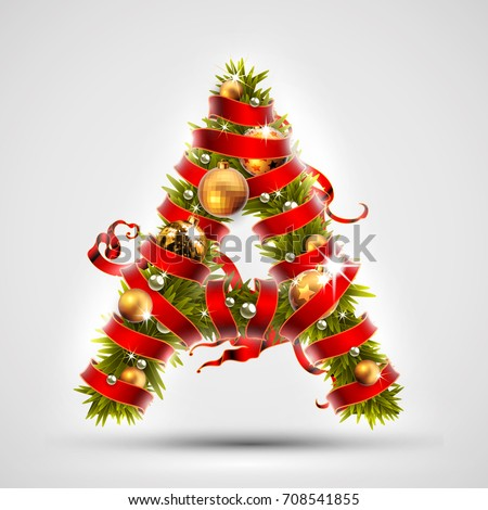 christmas font letter a of