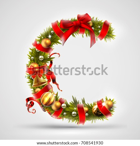 christmas font letter c of