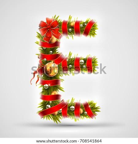christmas font letter e of