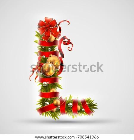 christmas font letter l of