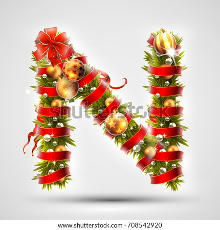 christmas font letter n of
