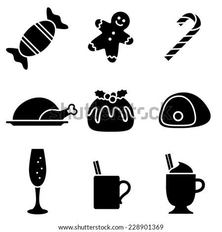 christmas food and drink icons