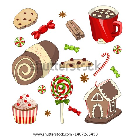 Christmas food and drink vector set. Gingerbread hause, candy, cookies, cupcake and other sweets. Colorful stickers, icons for New Year menu and other design #1407265433