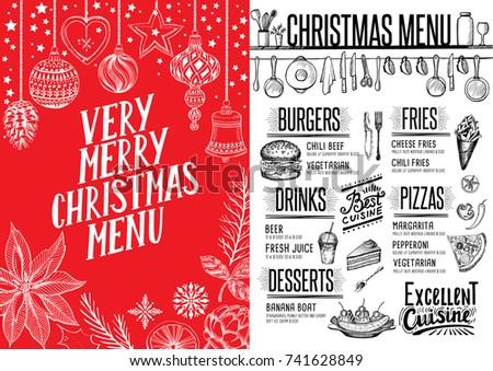christmas menu design download free vector art stock graphics