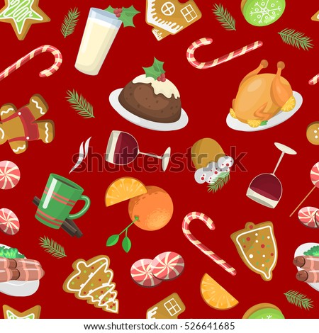 christmas food pattern vector