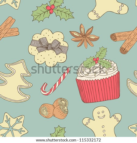 christmas food seamless pattern
